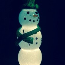 Snowman – Clear Crackle, with Seattle Hat & Scarf